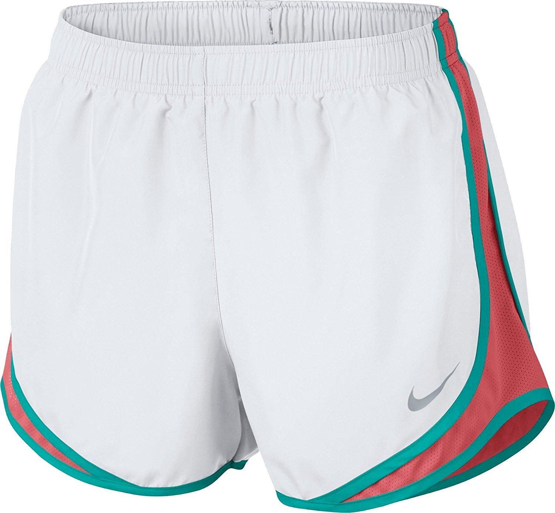 Women's Nike Dry Tempo Running Short (White/Sunblush/V/Ltfusred, Large)