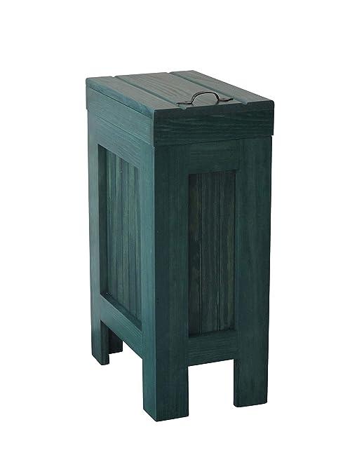 Rustic Wood Wooden Trash Bin Kitchen Garbage Can 13 Gallon Recycle Bin Dog  Food Storage Hunter Green Stain Rustic Supreme Pine Metal Handle Handmade  ...