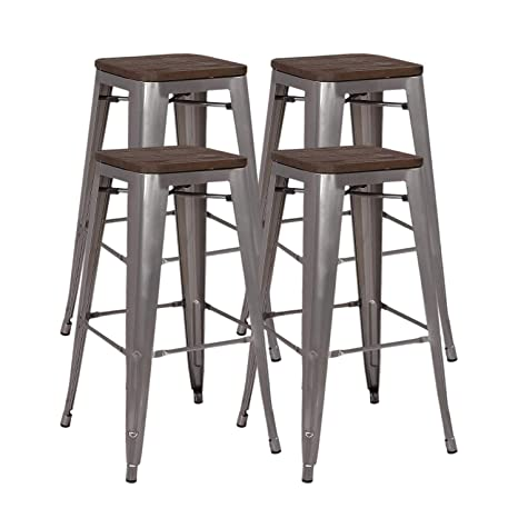 Stupendous Amazon Com Squadise 30 Inches Metal Bar Stools Set Of 4 Gmtry Best Dining Table And Chair Ideas Images Gmtryco