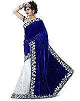 V-Art Women's Velvet & Net Saree (Sablueval_Blue & White)