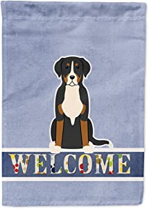 Caroline's Treasures BB5618GF Greater Swiss Mountain Dog Welcome Flag Garden Size, Small, Multicolor