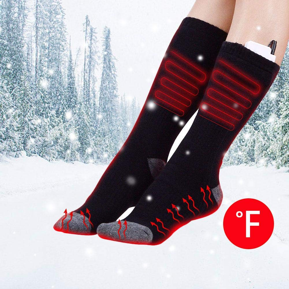 Ridecyle Calcetines térmicos Hombres y Mujeres, Calcetines de calefacción Ajustables y Recargables por USB Calentamiento de pies Equipos para Ciclismo ...