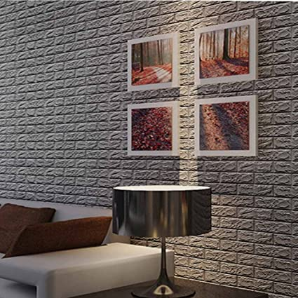 Captivating 3D Foam Wall Tiles Silver Grey Color Peel And Stick Brick Wallpaper POPPAP  Self Adhesive