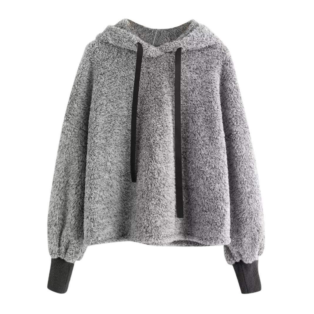iHENGH Damen Sweatshirt, Women Langärmeliges Sweatshirt Faux Pelz Crop Hoodie Tops iHENGH Hemd Nr.1