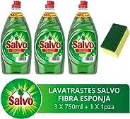 Salvo Salvo Lavatrastes Líquido Limón 2.25 L + 1 Esponja Microfibra, color, 1 count, pack of/paquete de