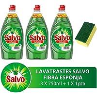 Salvo Lavatrastes Líquido Limón y Esponja Microfibra, 2.25 L