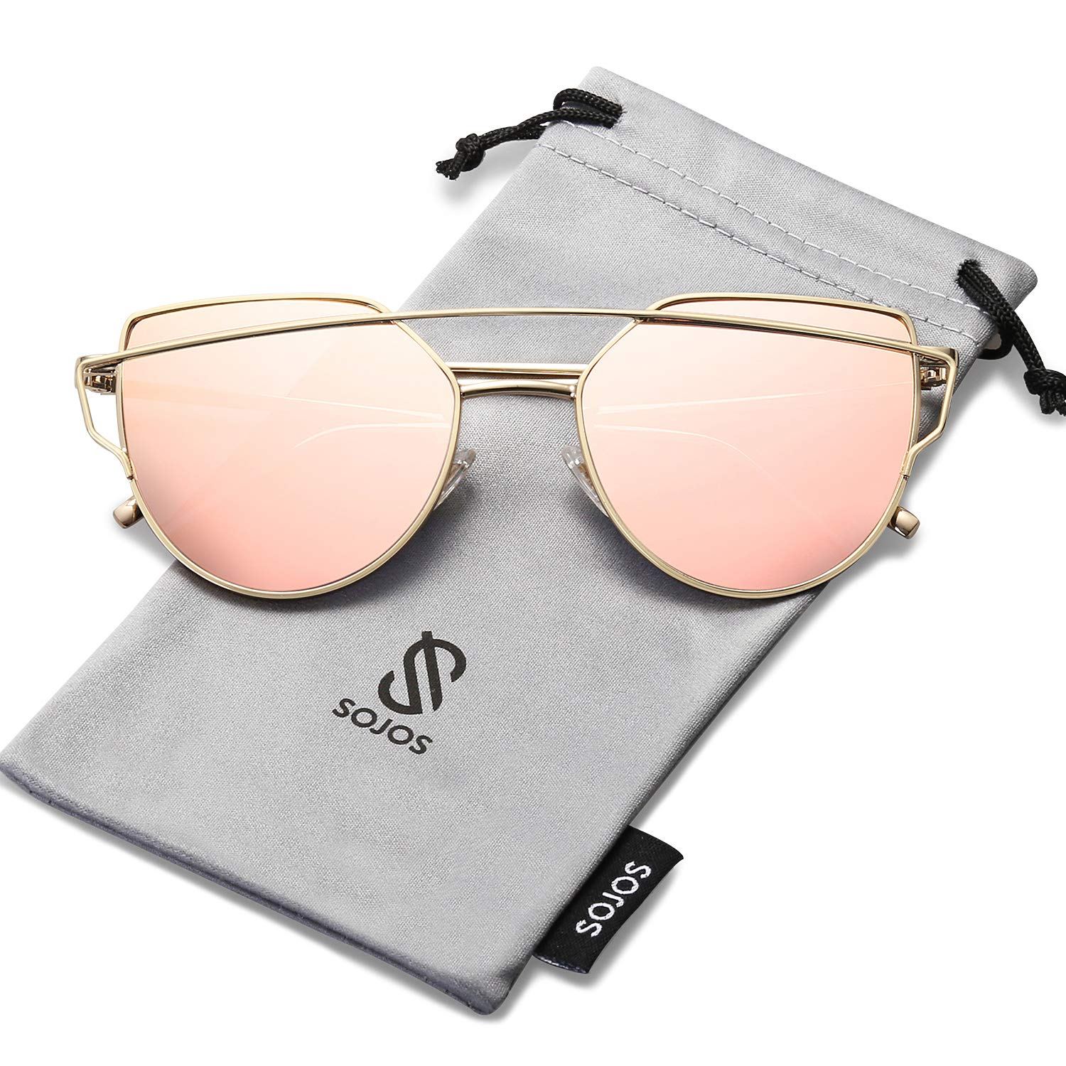 SOJOS Cat Eye Mirrored Flat Lenses Street Fashion Metal Frame Women Sunglasses SJ1001 with Gold Frame/Pink Mirrored Lens by SOJOS