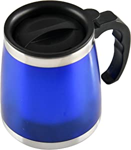 "HOME-X Insulated Coffee Mug with Lid and Handle, Travel Mug, Coffee Thermos, Hot Beverage Mug, Stainless Steel Lining-Blue-4 ½"" D, 12 oz."