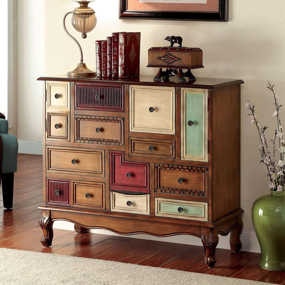 Amazon.com: 1PerfectChoice Desree Accent Chest Cabinet Storage Console Table  Multi Colored Antique Walnut: Kitchen U0026 Dining