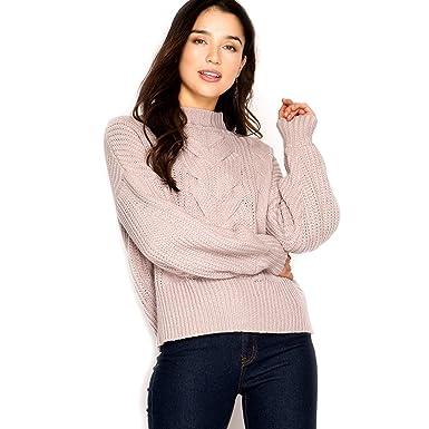 She Sky Long Sleeve Knit Twist Mock Neck Mocha Blush Pullover