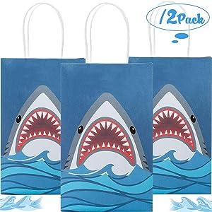 Funnlot Shark Party Bags Shark Party Supplies 12PCS Shark Goodie Bags Shark Gift Bags Shark Party Favor Bags for Shark Party Kids Birthday PartyDecorations