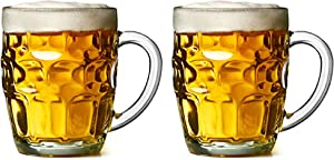 2 Pack Glass Dimpled Stein Beer Mug with Large Handle - 19 oz. -Dishwasher Safe - For All Beverages (2, Dimpled Texture)