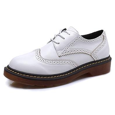 308122870169f4 Smilun Chaussure Fille Brogues Lacets Autobloquants en Vogue Comfortable  Blanc EU36