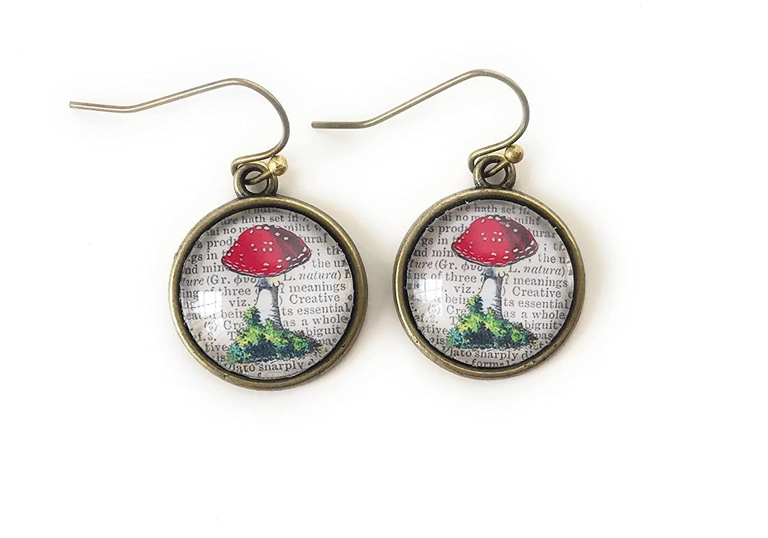 Mushroom Earrings with Black Accent Bead Red and White Mushroom Earrings.Dangle Earrings