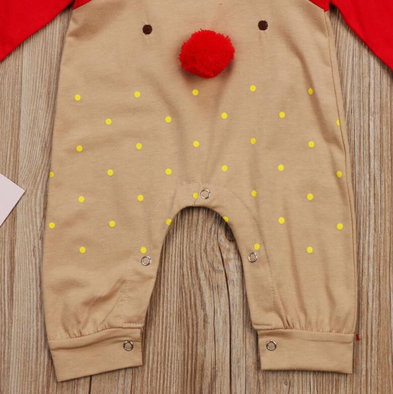 Newborn Baby Toddler Long Sleeve Cute Elk Pattern Long Sleeve Rompers Outfit with Hat