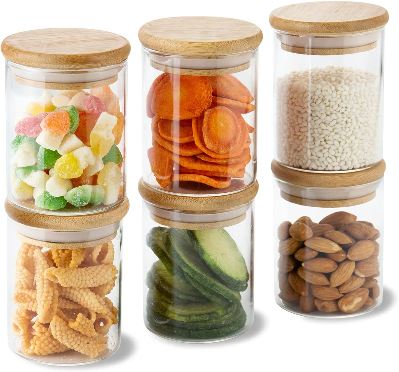 6 Sets 6 Oz Small Clear Glass Storage Canister Holder with Airtight Bamboo Lid, Modern Decorative Mini Container Jar for Coffee, Spice, Candy, Salt, Condiment, Pepper, Sugar, Matcha, Herb