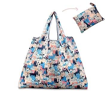 4c51309e82 Reusable Shopping Bag, Teoyall Foldable Eco Friendly Grocery Bag Heavy Duty  Washable Tote Bag (