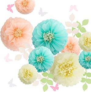 Fonder Mols Paper Flowers Decorations Tissue Pom Poms Blooms for Wall Decorations, Wedding Backdrop, Archway, Baby Shower, Nursery Wall Decor (Set of 21, Ivory Peach Mint)