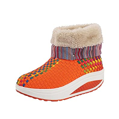 Flock Winter Sneakers Women Ankle Boots Warm Wedge Weave Snow Booties