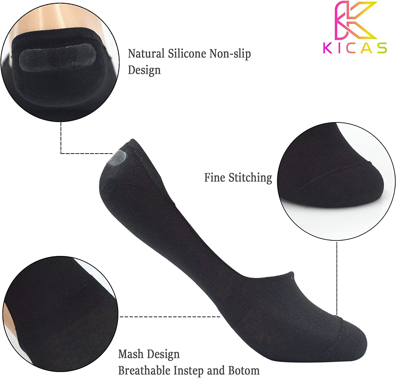 KICAS Men/'s Low-Cut Bamboo Fiber Combed Cotton Breathable Anti Odor Non-Slip Invisible No Show Socks 6Pairs