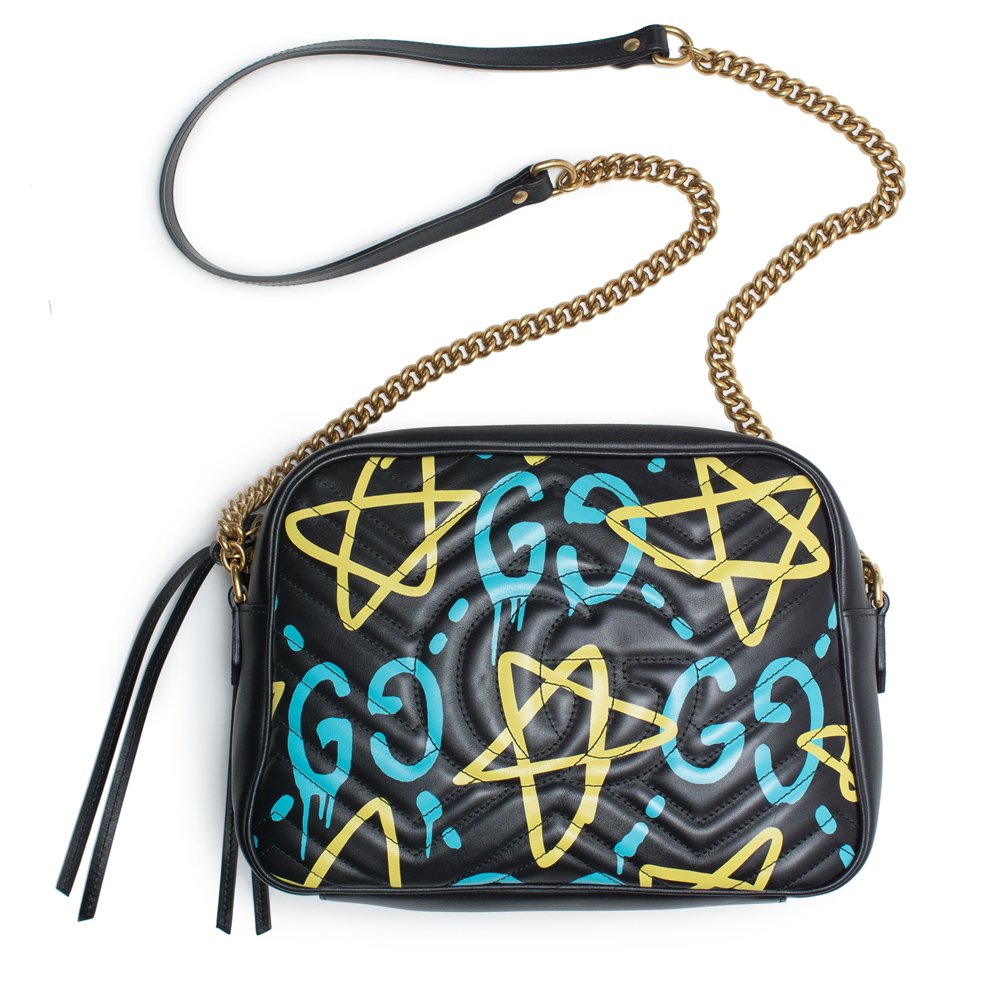 77f28ac1b Amazon.com: Gucci Ghost GG Marmont Black Graffiti Leather Shoulder Bag  Handbag Italy New 1: Shoes