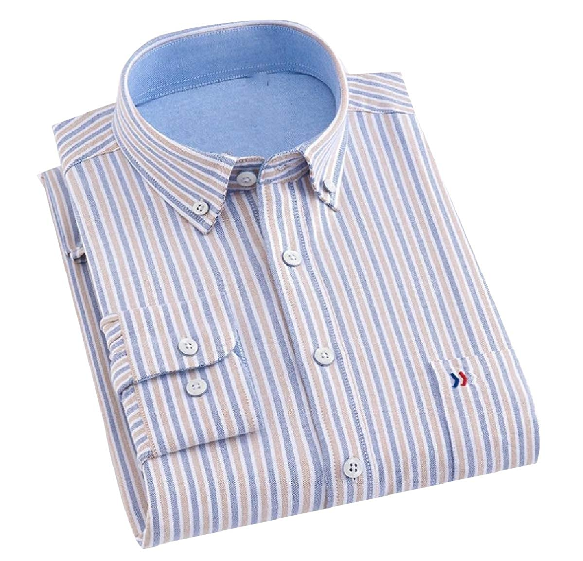 Mfasica Men Plaid Slim Fit Spread Collar Long-Sleeve Premium Woven Shirt