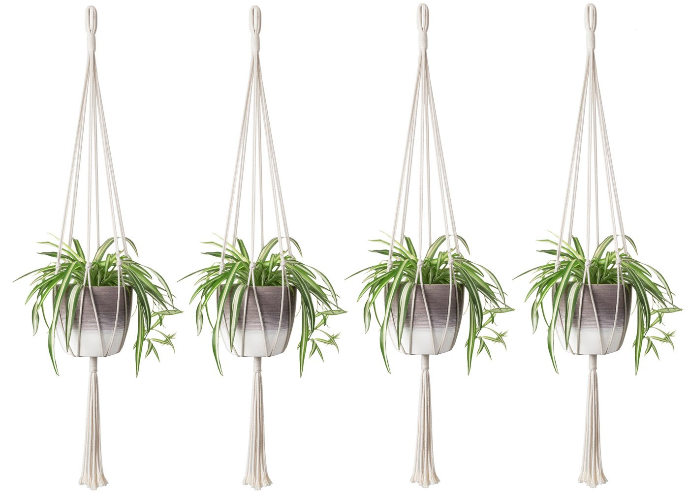 Mkono 4PCS Macrame Plant Hanger Indoor Outdoor Hanging Planter Basket Cotton Rope Home Decor 40 inch by Mkono