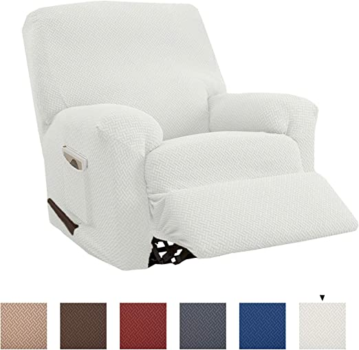 Form Fit Harlowe Collection Recliner, Beige Knitted Jacquard Stretch Recliner Slipcover Great Bay Home Stretch Recliner Slipcover Strapless Slipcover Slip Resistant