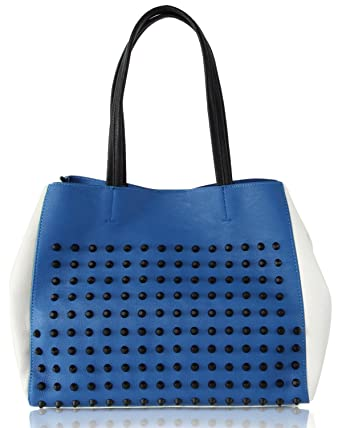 a79b4ed1bf Amazon.com: Steve Madden Women's Cortage Tote Bag, Blue/White: Shoes
