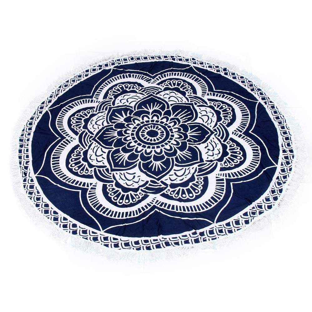 Amazon.com: LIShuai Round Beach Towel 150cm Polyester Beach Towel Adults Tablecloth Toalla Playa Mandala Serviette De Plage Table Cloth (Color: Navy Blue): ...