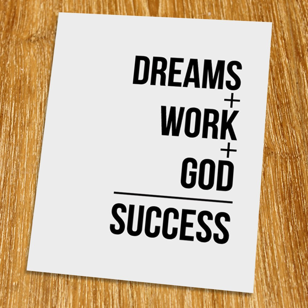 Amazon com: Dream work God success Print (Unframed