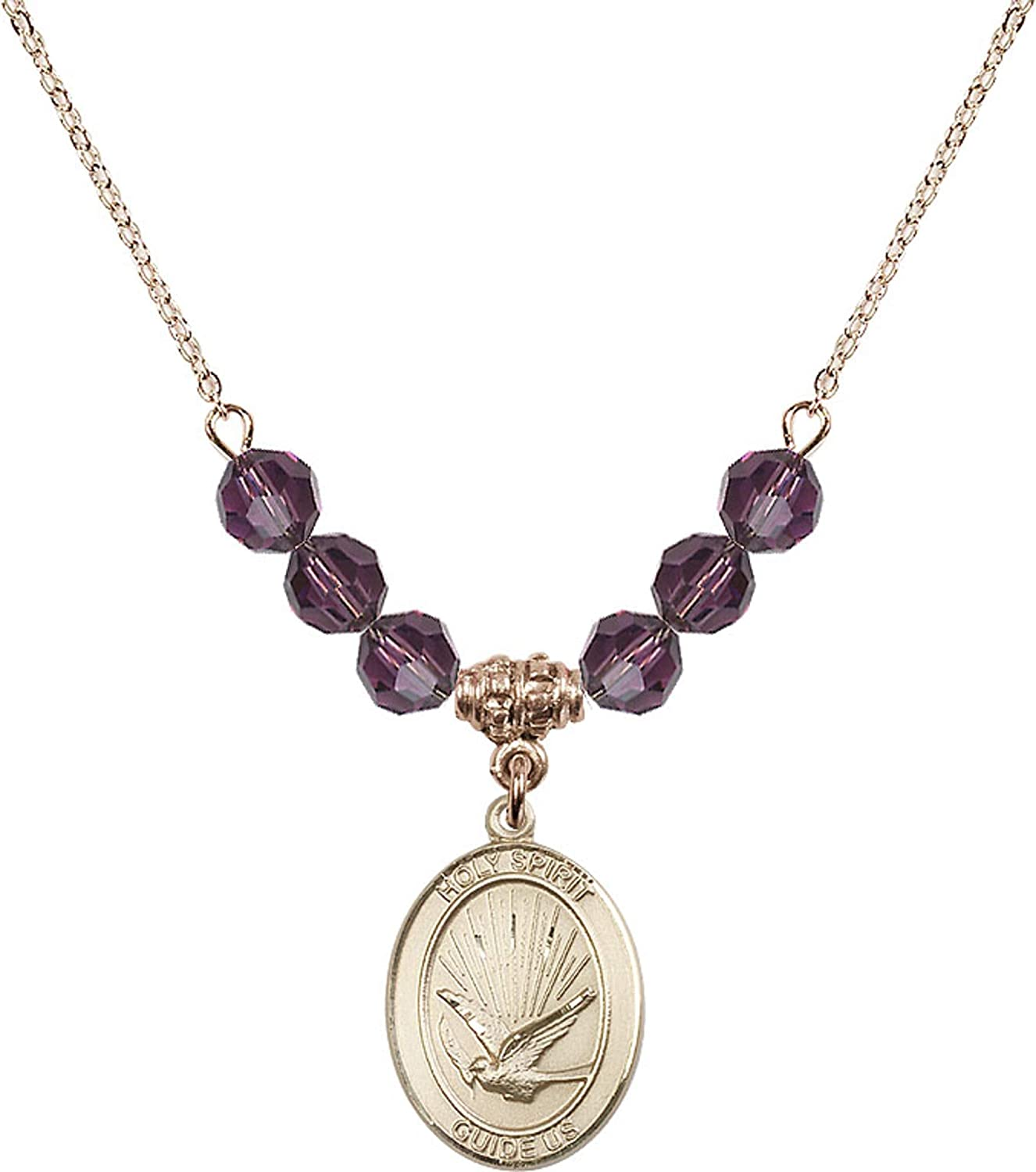 Bonyak Jewelry 18 Inch Hamilton Gold Plated Necklace w// 6mm Purple February Birth Month Stone Beads and Holy Spirit Charm
