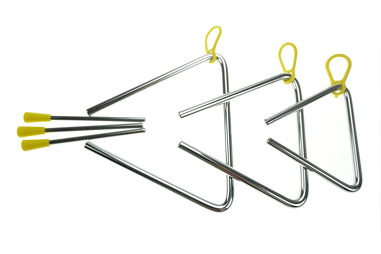 Bilipala Steel Rhythm Musical Percussion Triangle Instruments with Strikers, Set of 3