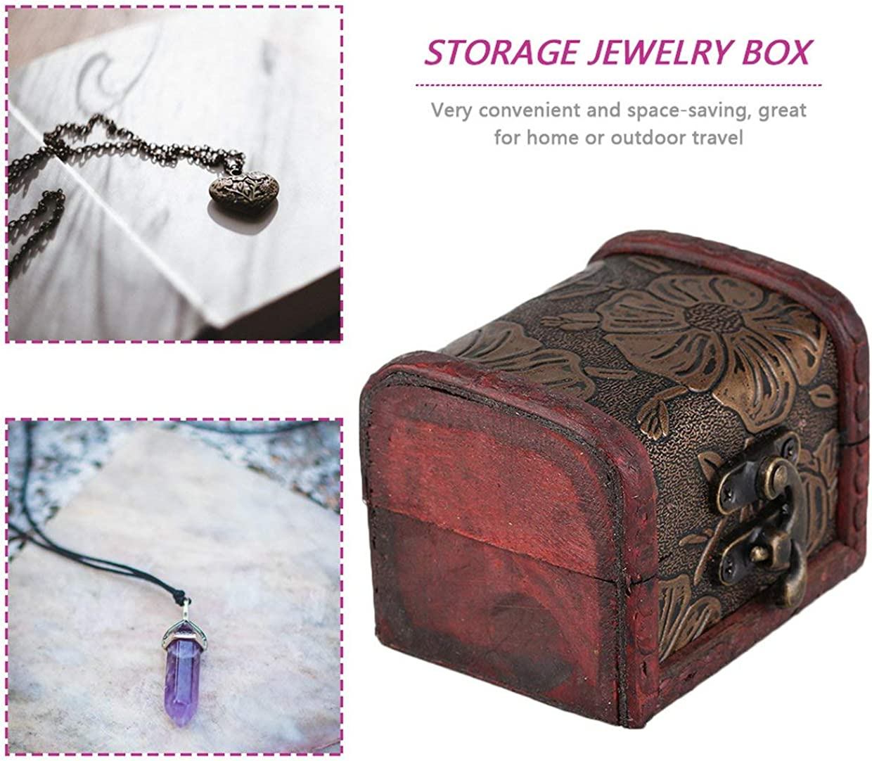 Justdodo Vintage Design Personal Jewelry Packaging /& Display Box Necklace Bracelet Rings Organizer Wooden Storage Case Gift Box Wood