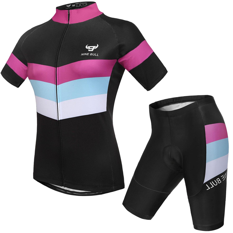 a5f7addb09c Amazon.com: nine bull Cycling Jersey Short Sleeve Women MTB Bike Clothing  Road Bicycle Shirts Shorts Padded Pants: Clothing