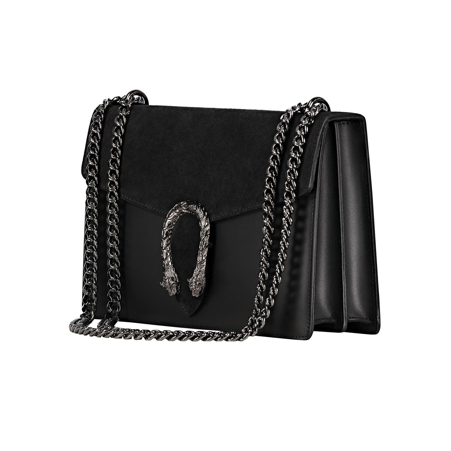 f8ccba61e0d544 RONDA Italian Baugette clutch mini wallet cross body bag with nickel chain  smooth stiff leather and suede: Handbags: Amazon.com