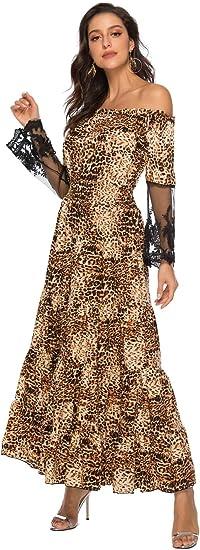 ilovgirl sukienka leopardowa dla kobiet sexy patchwork koronki rękawy zniszczone imprezy plaża z sukienki na ramiona maxi: Odzież
