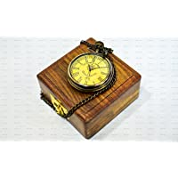 """World Of Vintage Antique Look Brass Anchor Pocket Watch 2"""" with Wood Wooden Box"""
