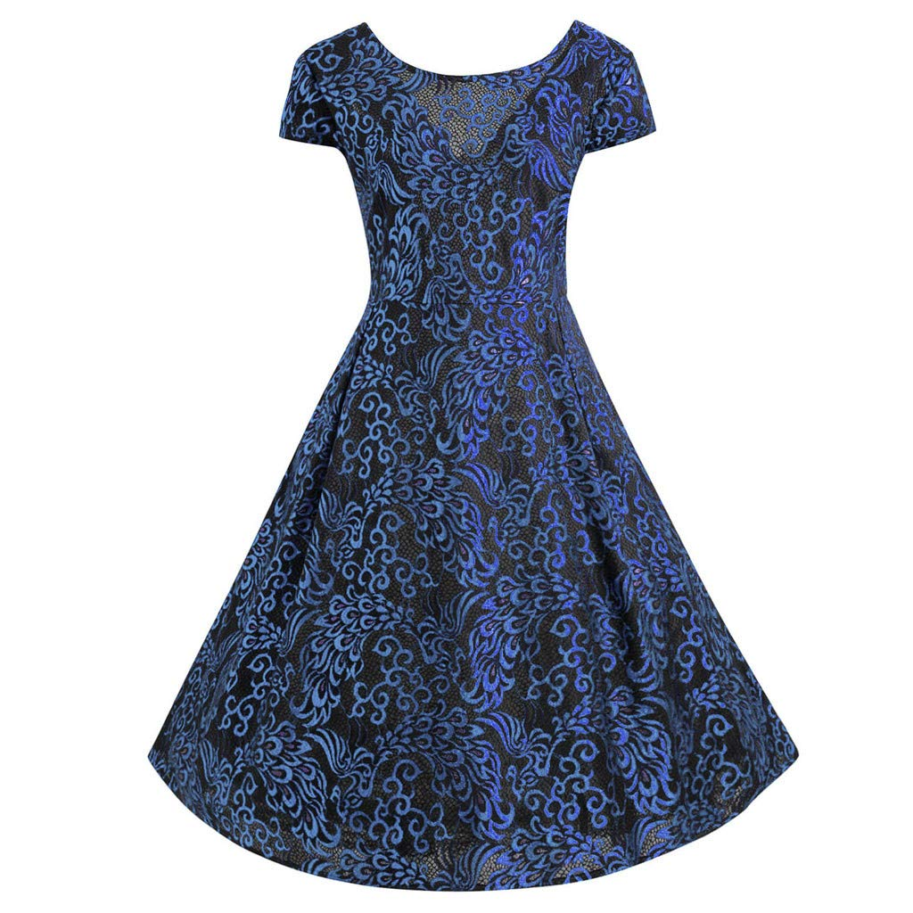 SSYongxia❤ Women's 1950s Retro Vintage Cocktail Party Dress V-Neck Short Sleeve Swing Dress Blue by SSYongxia