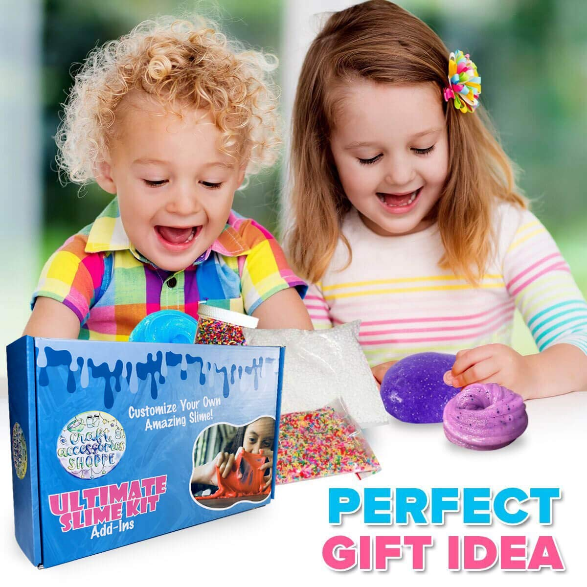Ultimate Slime Kit for Girls and Boys | Slime Kit with Slime Supplies | Complete DIY Slime Making Kit | Includes Slime Ingredients, 10 Colors, 8 Different Add-Ins | Colorful Slime Kits for Family Fun by Lily and Lee's Craft Accessories Shoppe (Image #4)