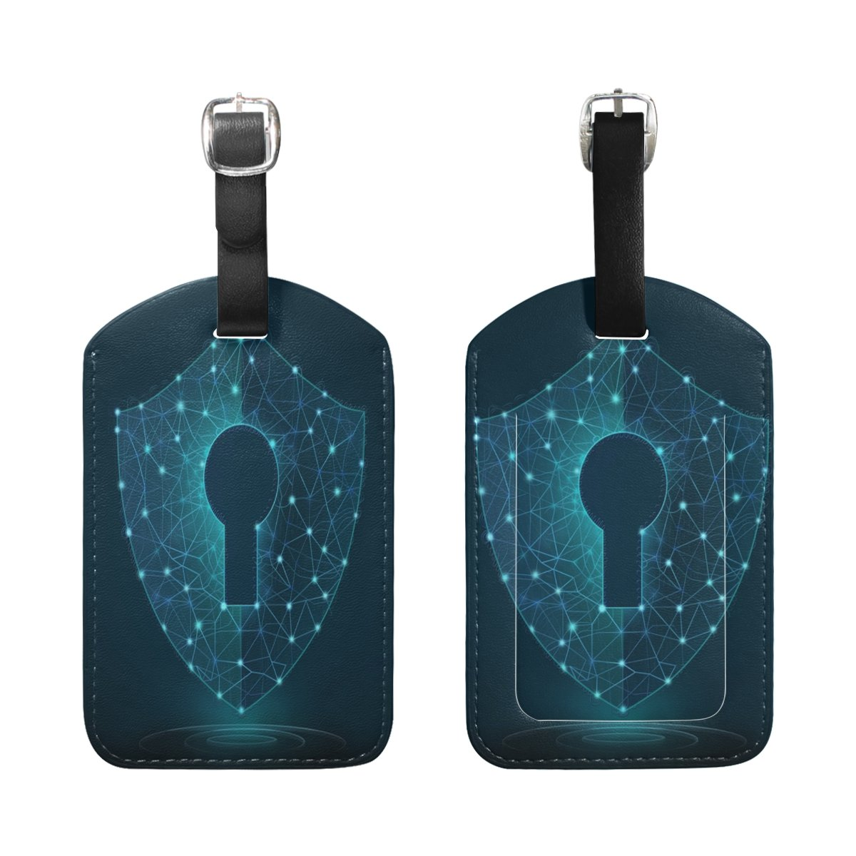 Saobao Travel Luggage Tag Cyber Security Guard PU Leather Baggage Suitcase Travel ID Bag Tag 1Pcs