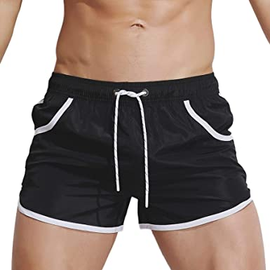 7a16873c55 Men Swimwear Solid Basic Long Swim Boxer Trunks Board Shorts Swimsuits  Swimming Trunk Surf Beach Board