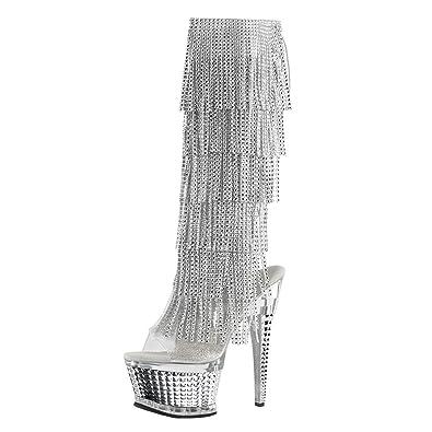 Amazon.com | Womens Silver Evening Shoes Rhinestone Boots Fringe ...