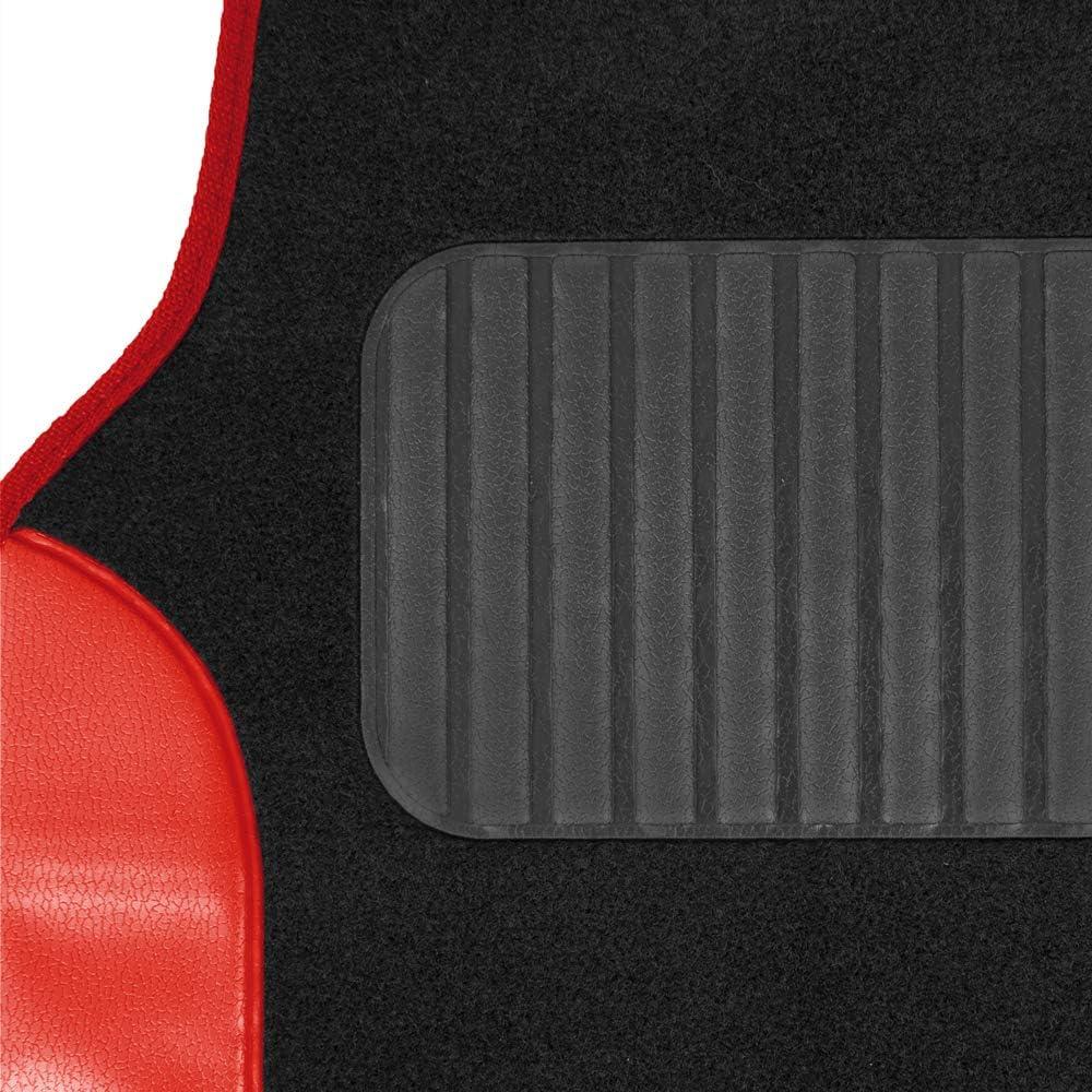 BDK MT202 Fresh Carpet Floor Mats for Car Sedan SUV Truck-Two Tone Color Design with PU Leather Trim Feature