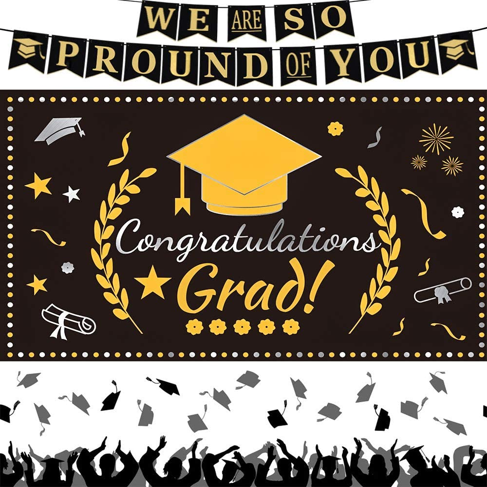 2021 Graduation Decorations We Are So Proud of You Graduation Banner Extra Large Black Gold Congratulations Grad Photo Backdrop for Outdoor Indoor Wall Apartment Decor Graduation Party Supplies