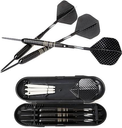 Dardos, juego de dardos de acero, 3 piezas de dardos con punta de acero con estuche rígido - Barriles de latón recubiertos de negro: Amazon.es: Hogar