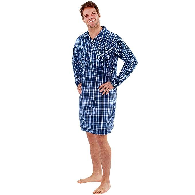 Harvey James - Camiseta de Pijama - para Hombre Azul Comprobar Medium