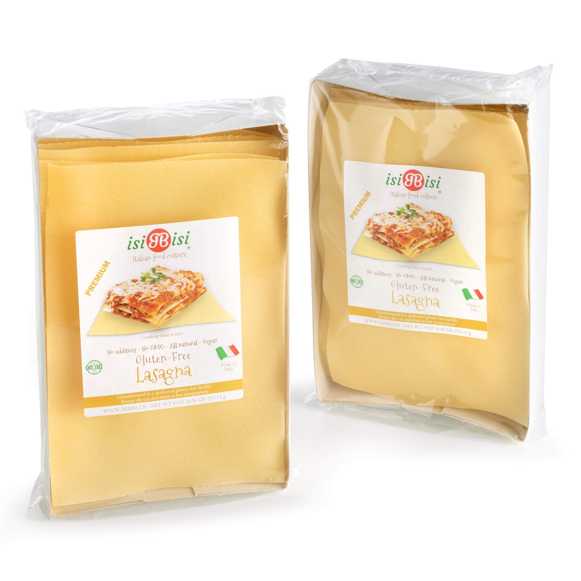 isiBisi Lasagna Gluten Free Pasta - Rice and Corn Flour - Made in Italy (18 oz - 2 Pack) by isiBisi