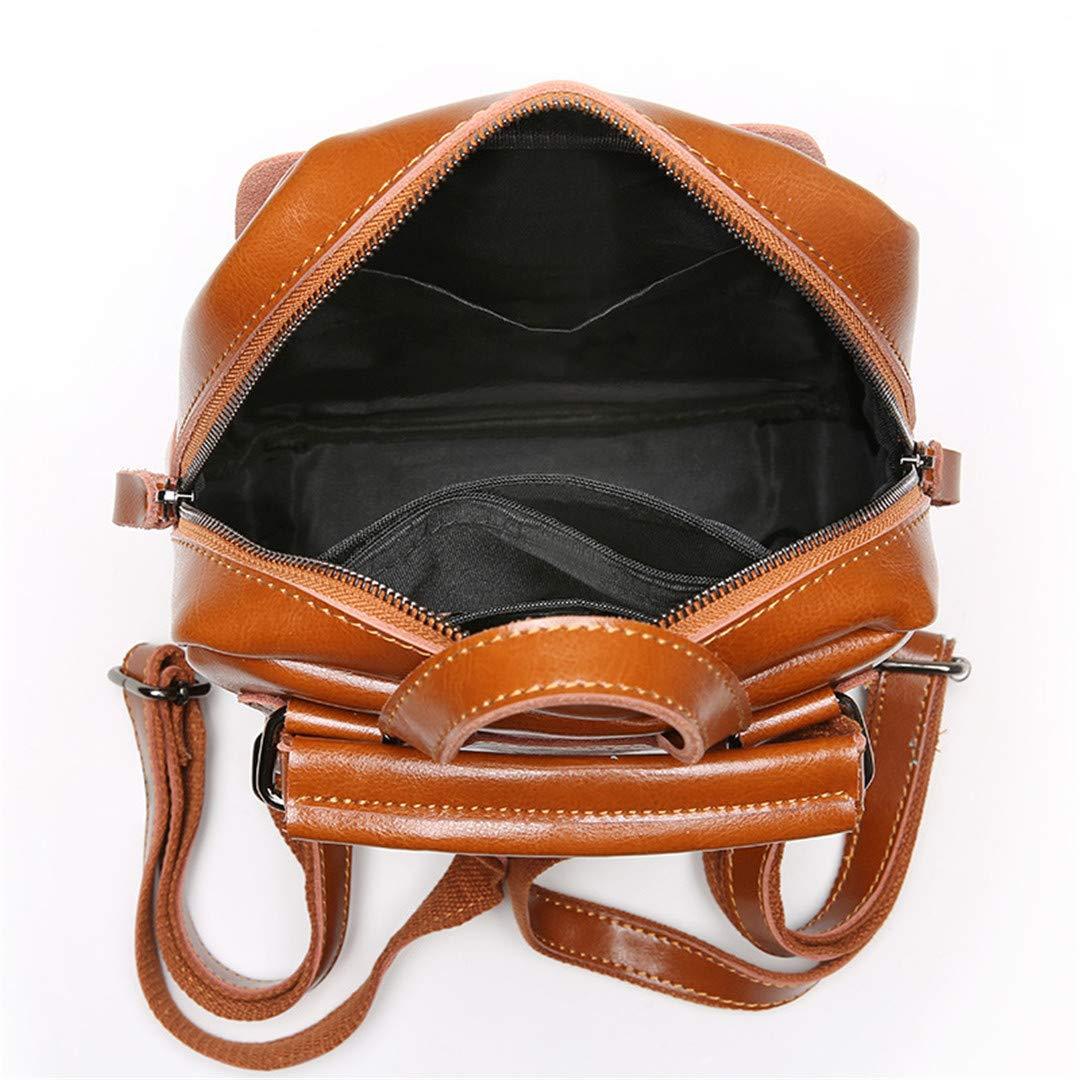 Vintage Genuine Oil Wax Cow Women Girls Real Leather School Backpack Dark Red