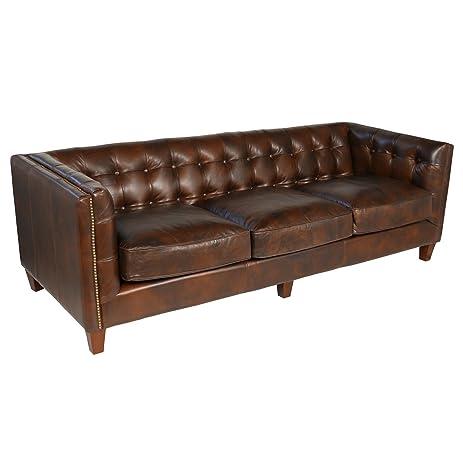 Joseph Allen Aristocrat Sofa, Cigar Brown Leather